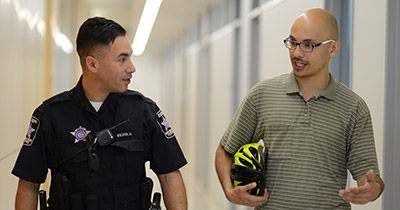 Campus police and employee