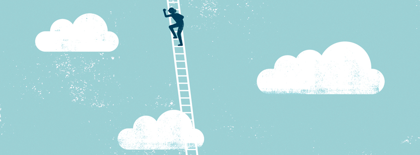 illustration 的 a figure climbing a ladder into clouds