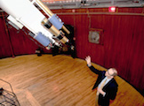 "The 23-foot-long tube supports two smaller telescopes in addition to the original 18.5-inch lens. One is heavily filtered to enable viewing 的 the sun. The other features a wide-view lens that allows observers to orient themselves by locating a large ""landmark,"" such as the moon, in the vast night sky."