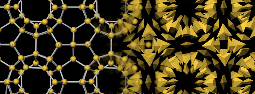 Up close image 的 nano particles in geometric pattern using yellow and black colors